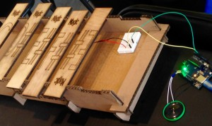 Gus used a laser cutter to make the wooden keys and frame for his Arduino powered xylophone